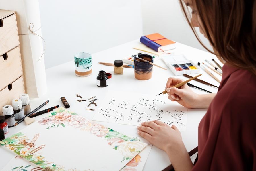 Kalligraphie auf Postkarten