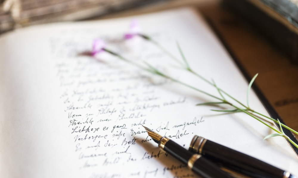 Füllfederhalter, Büchlein mit schöner Schreibschrift