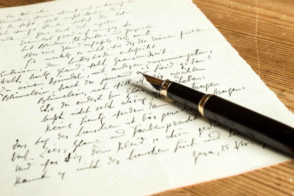 handschriftlich geschriebener Brief - Schönschrift üben