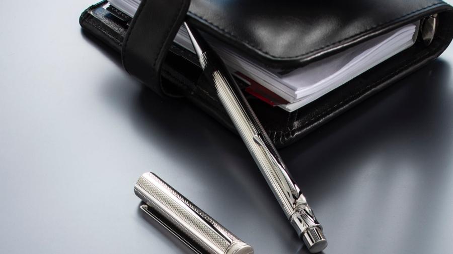 Waldmann Tango Druckkugelschreiber Silber Korn-Design
