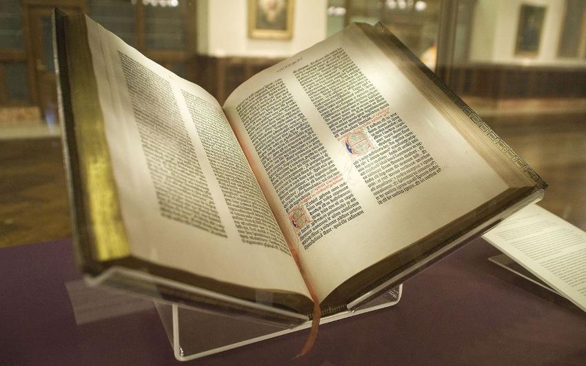 Die 42-zeilige Bibel, das Hauptwerk Gutenbergs, ca. 14500