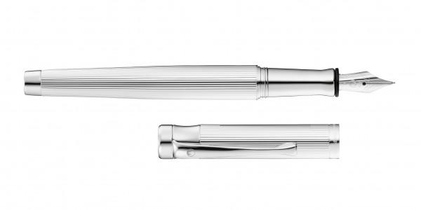 Waldmann Tango Füllhalter Silber Linien-Design Stahlfeder