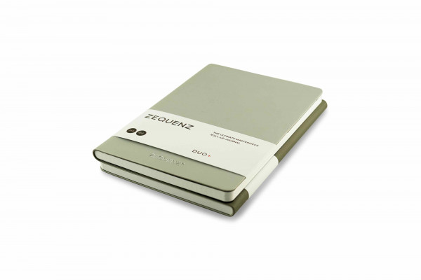 Zequenz Duo Plus 360 Notizbuch B6 Silber Grau