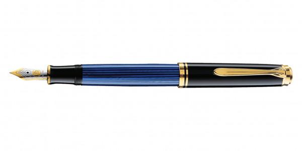 Pelikan Souverän 600 Kolbenfüllhalter Schwarz Blau