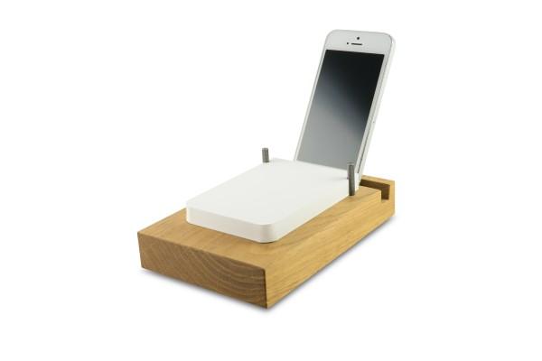 Off Lines Papierstation flach mit Smartphone Rille Eiche
