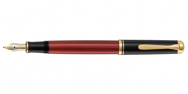 Pelikan Souverän 600 Kolbenfüllhalter Schwarz Rot