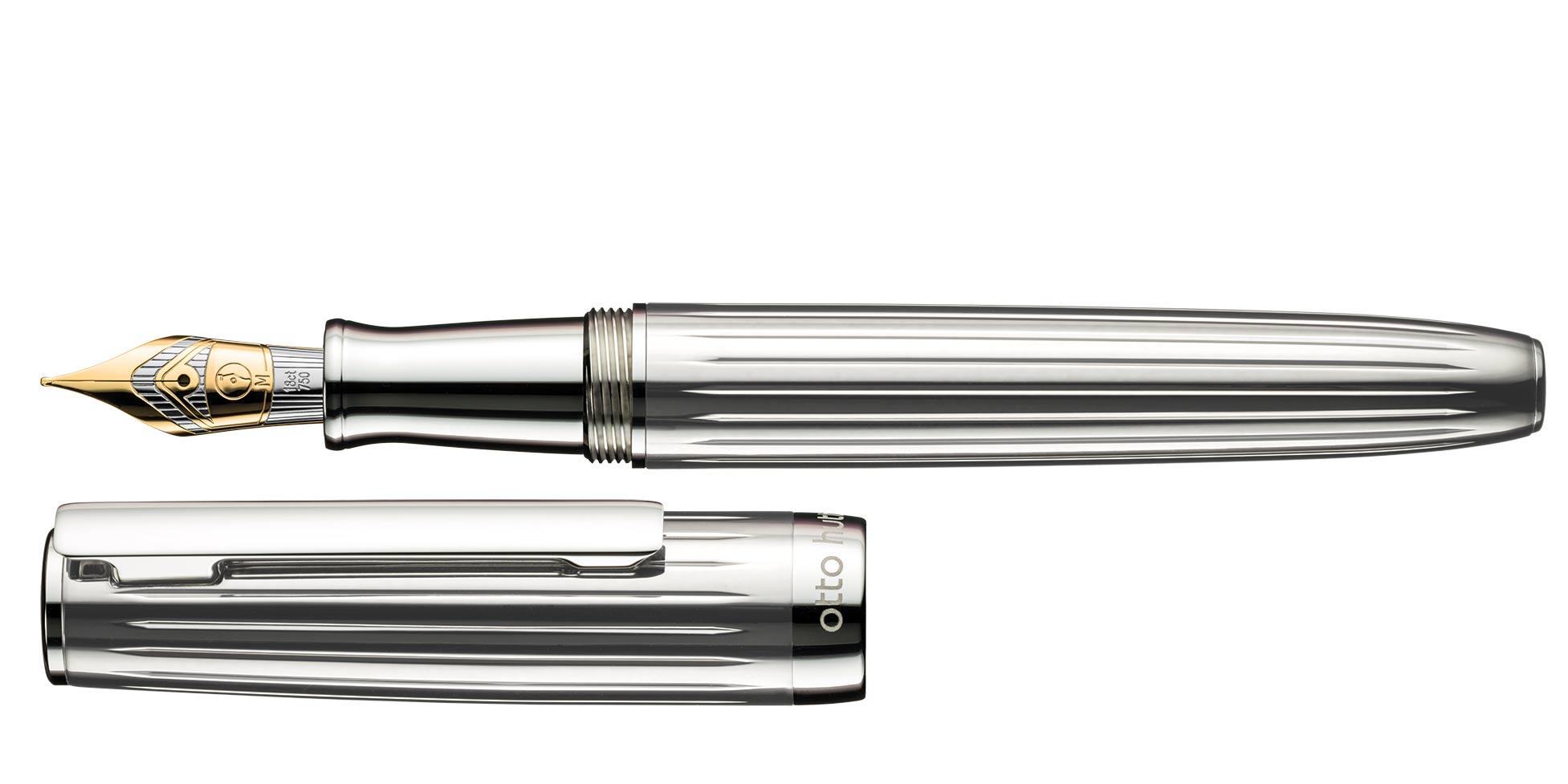 cuerpo y tapa Bol/ígrafo de punta redonda Otto Hutt Design 02 plata de ley 925