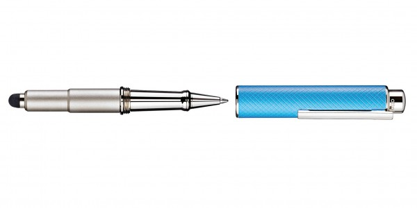 Otto Hutt Entwurf 05 Kugelschreiber Karo Türkis Blau