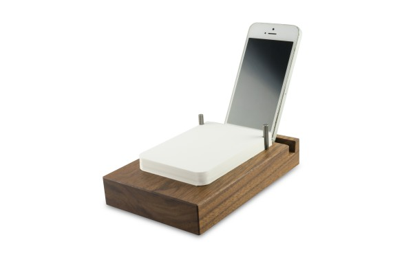 Off Lines Papierstation flach mit Smartphone Rille Walnuss