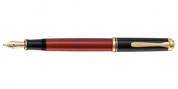 Pelikan Souverän 400 Kolbenfüllhalter Schwarz Rot