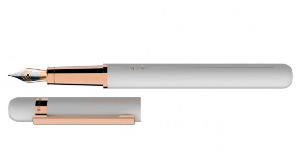 Otto Hutt Entwurf 03 Füllhalter Weiß Rosegold mit Stahl BiColor Feder
