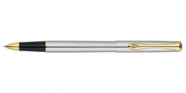 Diplomat Traveller Tintenroller Edelstahl Gold