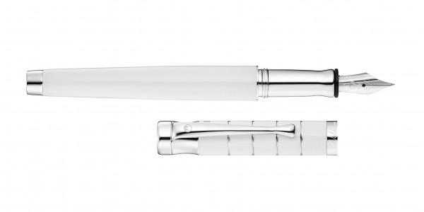 Waldmann Tango Füllhalter Weiß Ring-Design Stahlfeder
