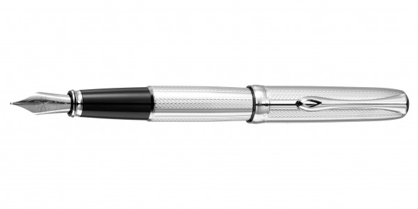 Diplomat Excellence A2 fountain pen guilloche stripes chrome nib stainless steel