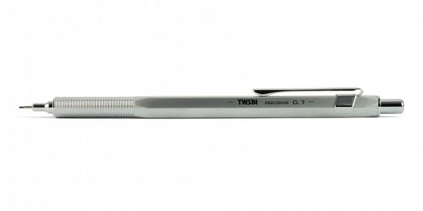 TWSBI Precision RT Druckbleistift 0,7 mm silber Minenrohr ausgefahren