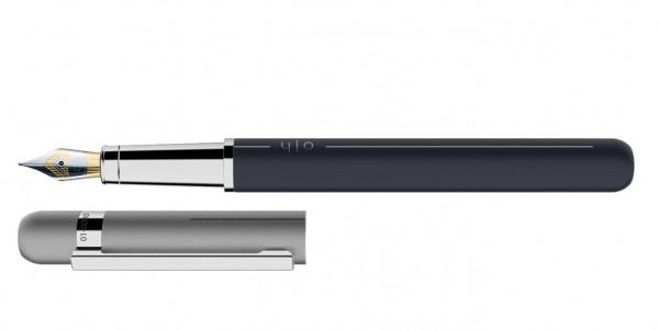 Otto Hutt Entwurf 03 Füllhalter Navy Grau mit Stahl BiColor Feder