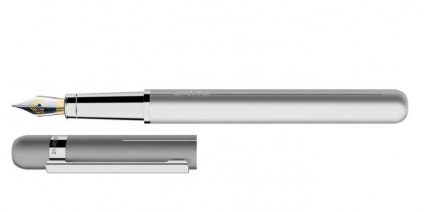 Otto Hutt Entwurf 03 Füllhalter Hellgrau mit Stahl BiColor