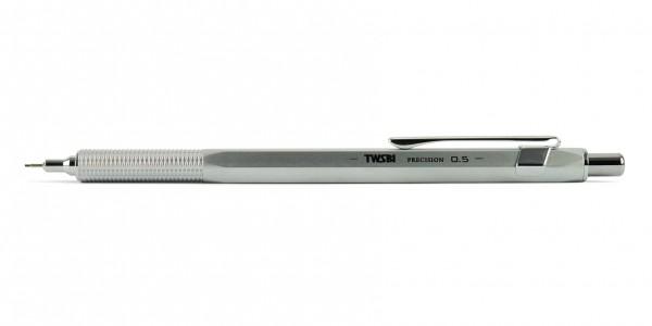 TWSBI Precision RT Druckbleistift Silber 0,5 mm Silber Minenrohr ausgefahren