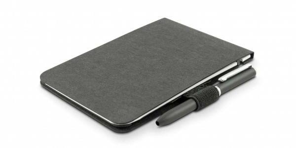 Off-Lines Zettelwirt Notebook A7 black with pen-loop and pen